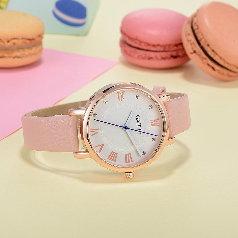 GAIETY G481 Ladies Fashion Leather Quartz Watch - PINK