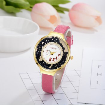 GAIETY G482 Ladies Quicksand Fashion Quartz Watch - ROSE RED