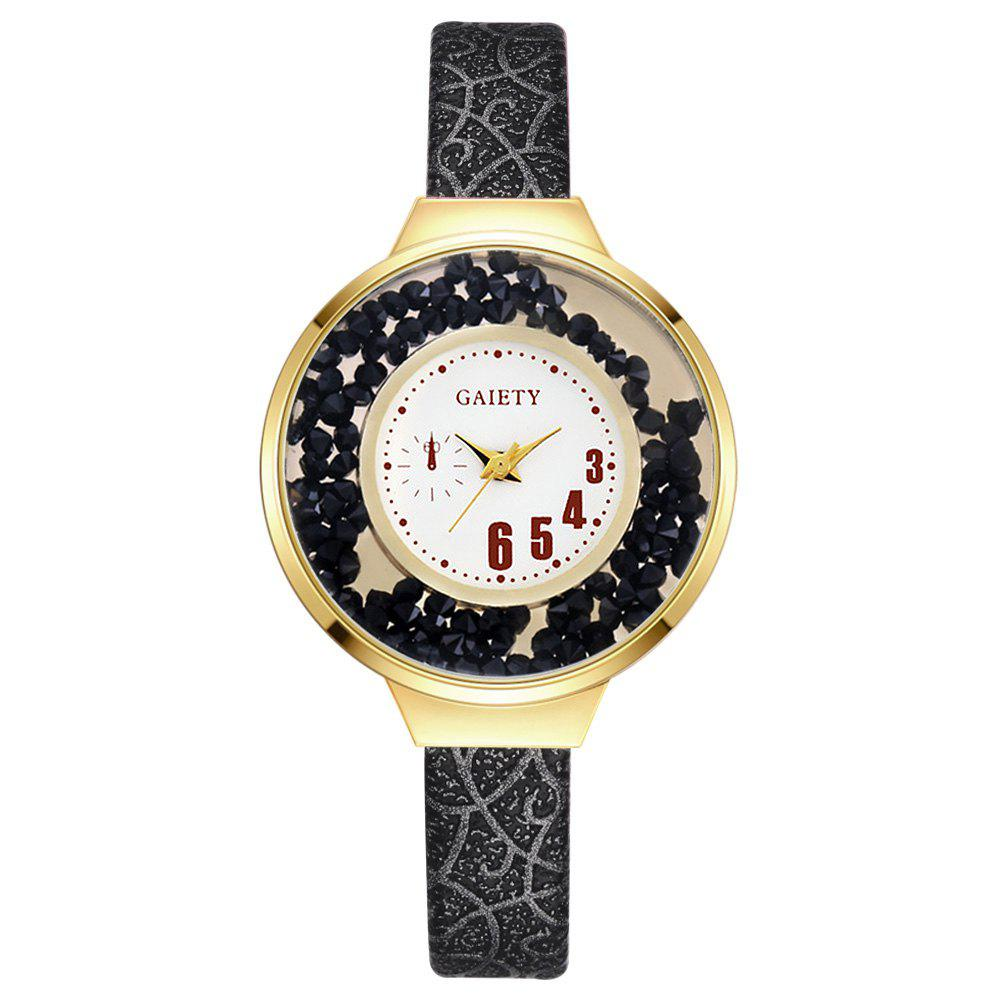 GAIETY G482 Ladies Quicksand Fashion Quartz Watch - BLACK