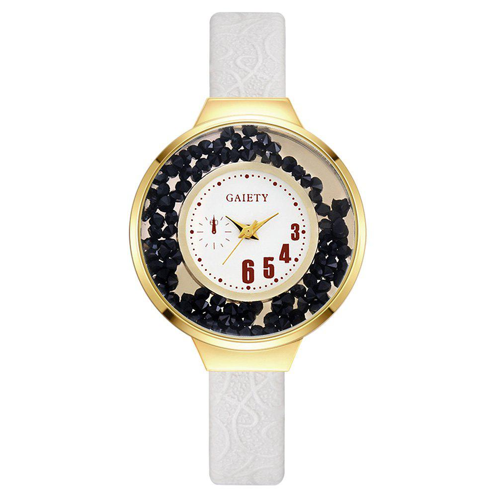 GAIETY G482 Ladies Quicksand Fashion Quartz Watch - WHITE