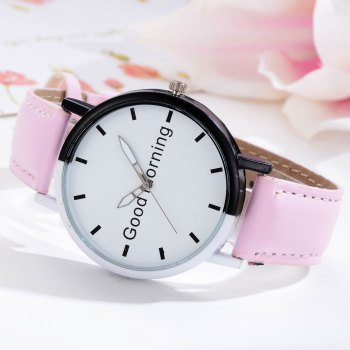 GAIETY Women's Two Tone Letters Dial Quartz Watch G514 - PINK