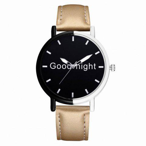 GAIETY Women's Black Dial Two Tone Bezel Leather Band Quartz Watch G513 - GOLDEN