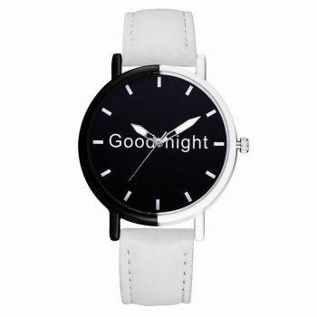 GAIETY Women's Black Dial Two Tone Bezel Leather Band Quartz Watch G513 - WHITE WHITE