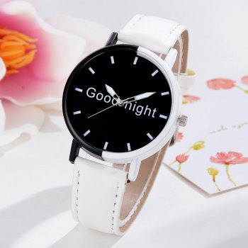 GAIETY Women's Black Dial Two Tone Bezel Leather Band Quartz Watch G513 -  WHITE