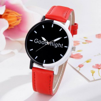 GAIETY Women's Black Dial Two Tone Bezel Leather Band Quartz Watch G513 -  RED