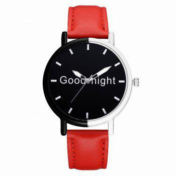GAIETY Women's Black Dial Two Tone Bezel Leather Band Quartz Watch G513 - RED RED