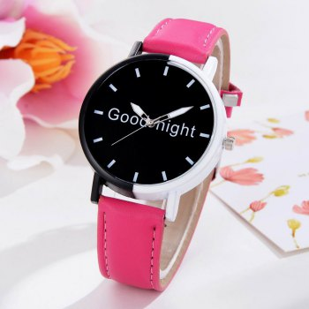 GAIETY Women's Black Dial Two Tone Bezel Leather Band Quartz Watch G513 -  ROSE RED