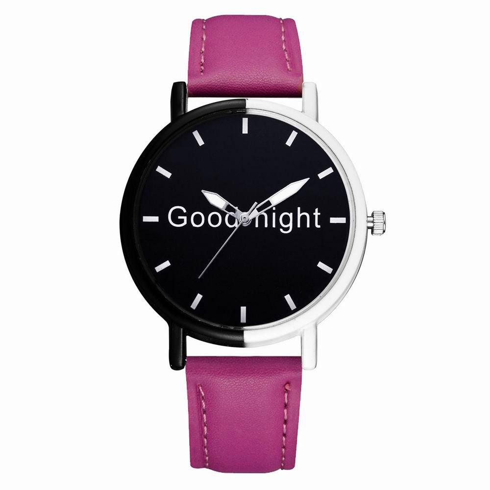 GAIETY Women's Black Dial Two Tone Bezel Leather Band Quartz Watch G513 - PURPLE