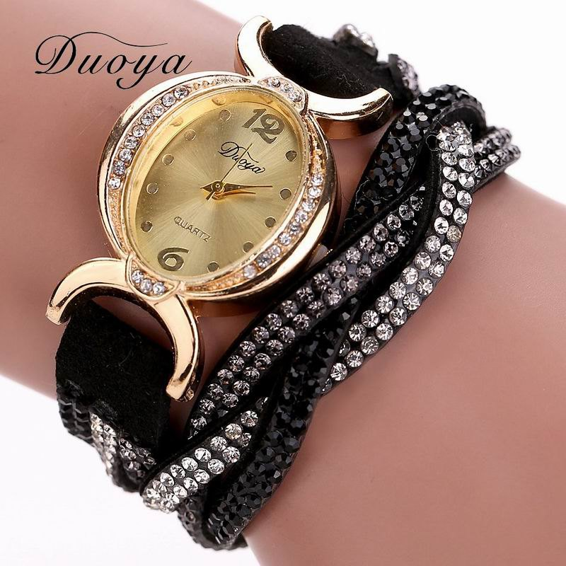 DUOYA D014 Women Rhinestones Analog Quartz Wrap Bracelet Wrist Watch - BLACK