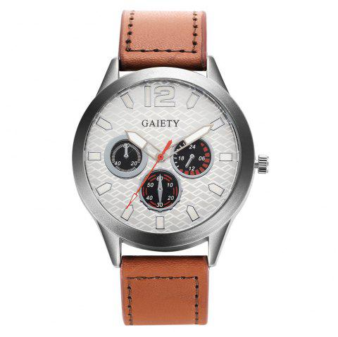 GAIETY Silver Tone Men's Round Case Leather Band Quartz Watch G510 - BROWN