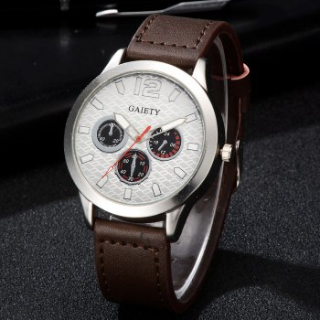 GAIETY Silver Tone Men's Round Case Leather Band Quartz Watch G510 -  COFFEE