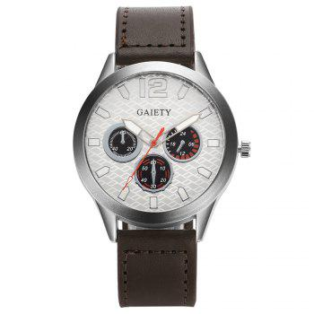 GAIETY Silver Tone Men's Round Case Leather Band Quartz Watch G510 - COFFEE COFFEE