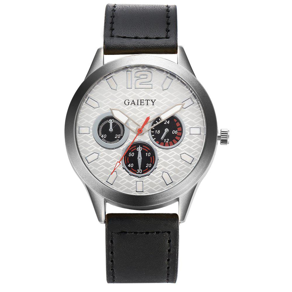 GAIETY Silver Tone Men's Round Case Leather Band Quartz Watch G510 - BLACK