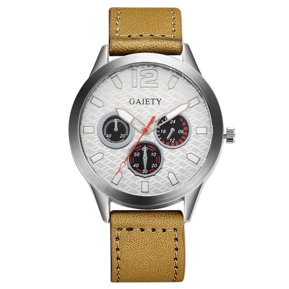GAIETY Silver Tone Men's Round Case Leather Band Quartz Watch G510 - YELLOW