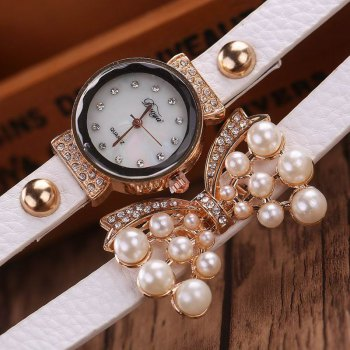 DUOYA D013 Women Pearls Butterfly Quartz Bracelet Wrist Watch With Rhinestones - WHITE