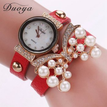 DUOYA D013 Women Pearls Butterfly Quartz Bracelet Wrist Watch With Rhinestones - RED RED