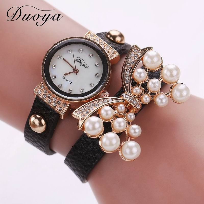 DUOYA D013 Women Pearls Butterfly Quartz Bracelet Wrist Watch With Rhinestones - BLACK