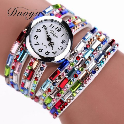 DUOYA D011 Women Colorful Rhinestones Quartz Bracelet Wrist Watch - COLOR3