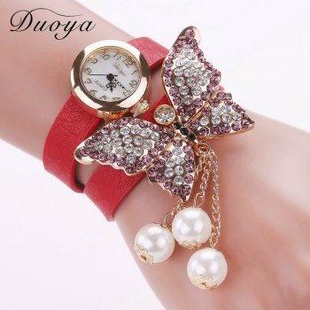 DUOYA D008 Women Analog Quartz Bracelet Wrist Watch with Diamond Pendant - RED RED