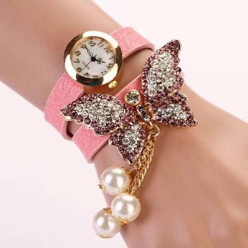DUOYA D008 Women Analog Quartz Bracelet Wrist Watch with Diamond Pendant - PINK