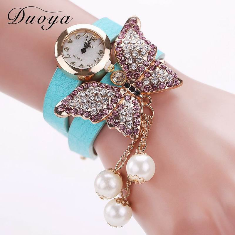 DUOYA D008 Women Analog Quartz Bracelet Wrist Watch with Diamond Pendant - SKYBLUE
