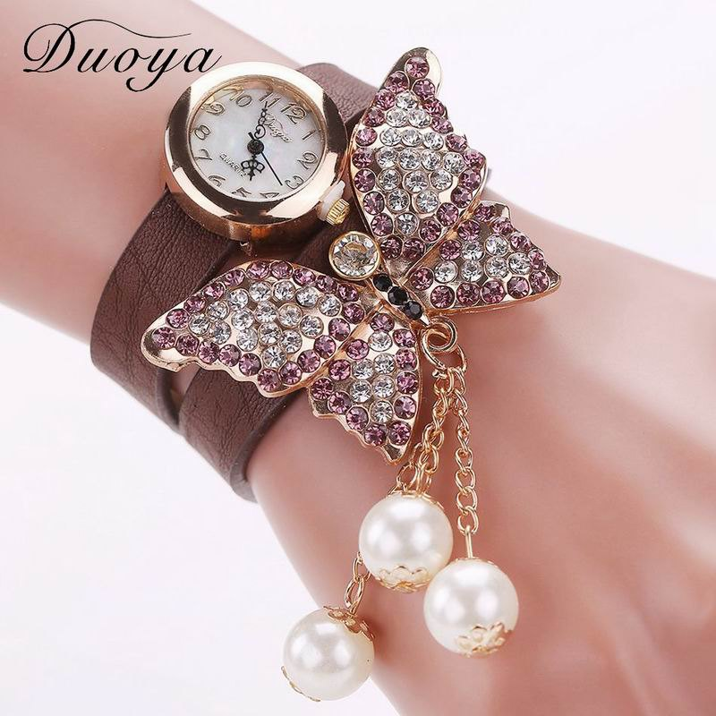 DUOYA D008 Women Analog Quartz Bracelet Wrist Watch with Diamond Pendant - COFFEE