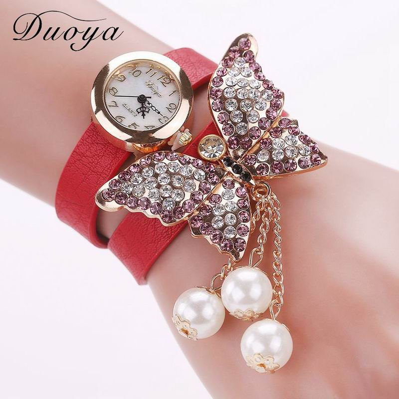 DUOYA D008 Women Analog Quartz Bracelet Wrist Watch with Diamond Pendant - RED
