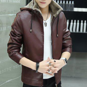 Men'S Velvet Leather Jacket - BURGUNDY BURGUNDY