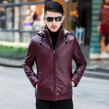 Men'S Velvet Leather Jacket - BURGUNDY 4XL