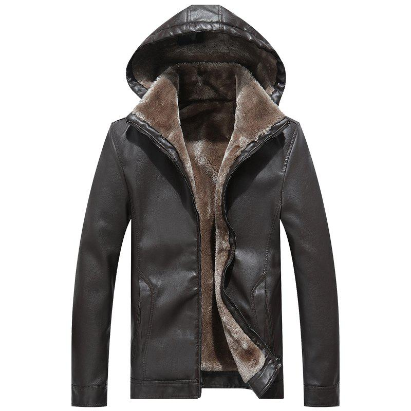 Men'S Velvet Leather Jacket - BROWNIE M