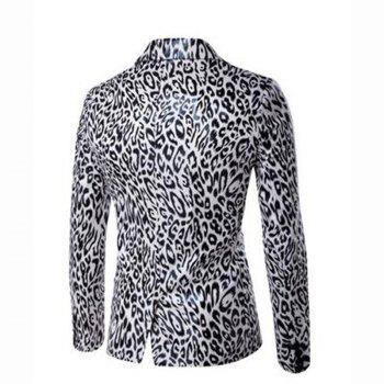 Men's Casual Plus Sizes Print Long Sleeve Regular Blazer - WHITE WHITE