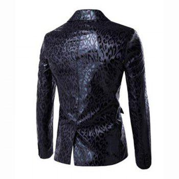 Men's Casual Plus Sizes Print Long Sleeve Regular Blazer - BLACK M