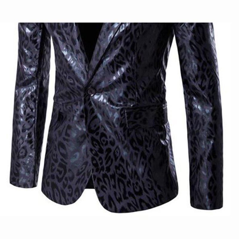 Men's Casual Plus Sizes Print Long Sleeve Regular Blazer - BLACK L