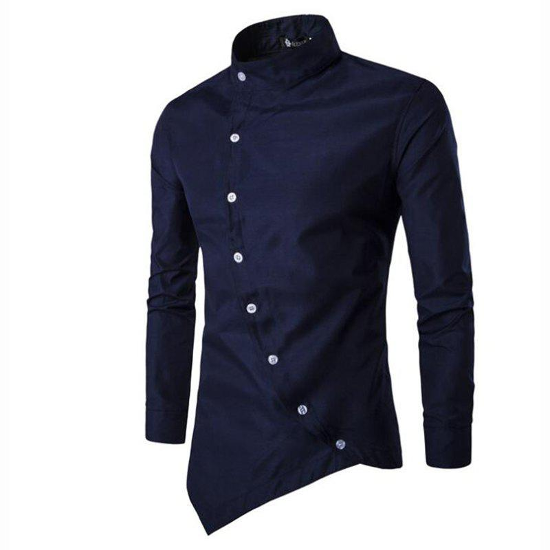 Men's Casual Daily Simple Chinoiserie Spring Fall Shirt Solid Stand Long Sleeves Cotton men s casual daily simple shirt check stand long sleeves cotton t shirt