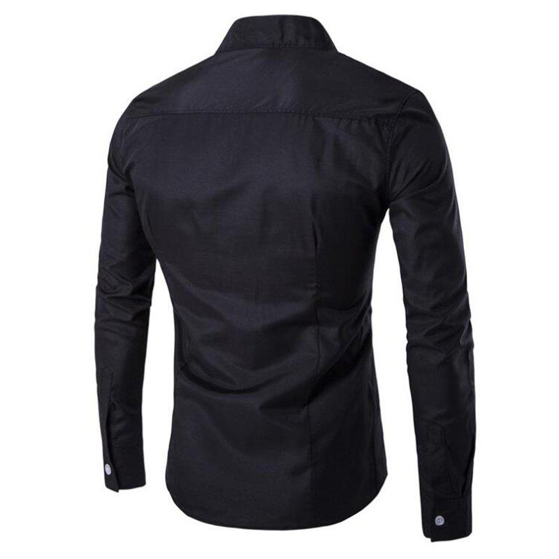 Men's Casual Daily Simple Chinoiserie Spring Fall Shirt Solid Stand Long Sleeves Cotton - BLACK XL