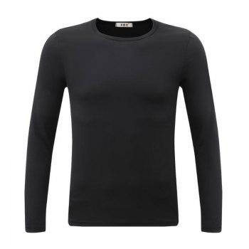 Men's Sports Casual Daily Work Simple Active Chinoiserie Regular Pullover Solid Round Neck Long Sleeves Cotton Winter T-shirt - BLACK XL