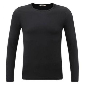 Men's Sports Casual Daily Work Simple Active Chinoiserie Regular Pullover Solid Round Neck Long Sleeves Cotton Winter T-shirt - BLACK 2XL