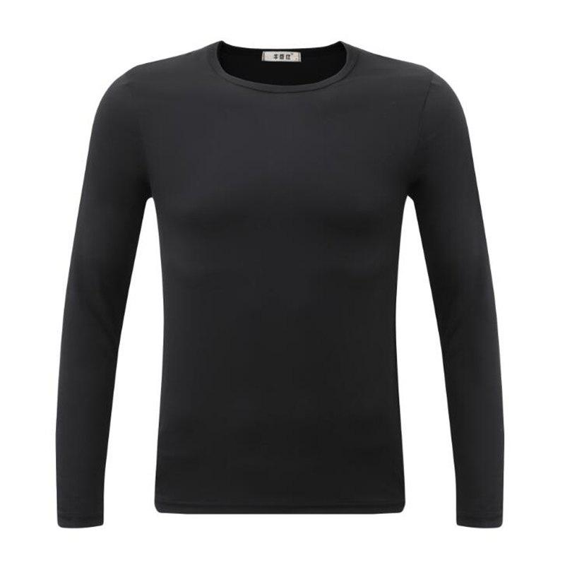 Men's Sports Casual Daily Work Simple Active Chinoiserie Regular Pullover Solid Round Neck Long Sleeves Cotton Winter T-shirt - BLACK 3XL