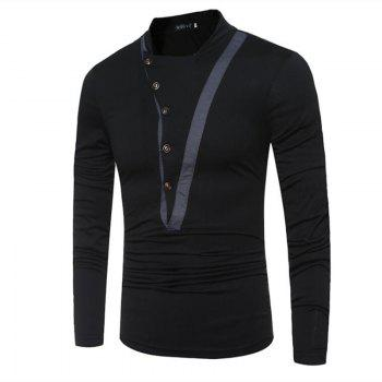 Men's Casual Active Fall Winter T-shirt Solid Jewel Long Sleeve Medium T-shirt - BLACK 2XL