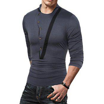 Men's Casual Active Fall Winter T-shirt Solid Jewel Long Sleeve Medium T-shirt - GRAY 3XL
