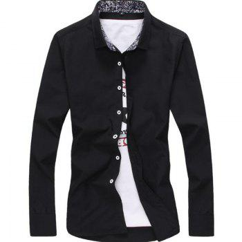 Men's Plus Size Casual Daily Simple All Seasons Shirt Solid Stand Long Sleeves - BLACK BLACK