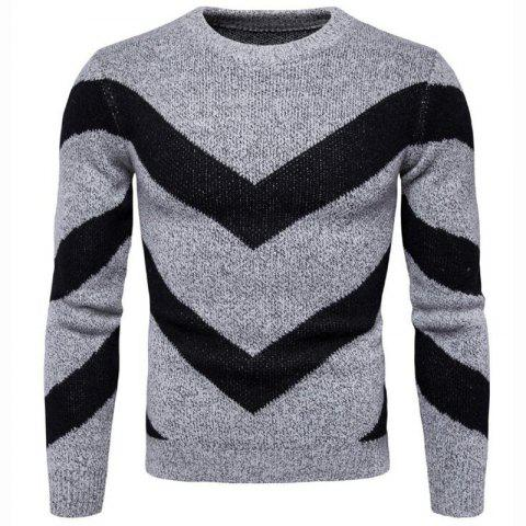 Men's Casual Daily Plus Size Simple Regular Pullover Color Block Round Neck Long Sleeves Cotton Polyester Sweater - GRAY 2XL