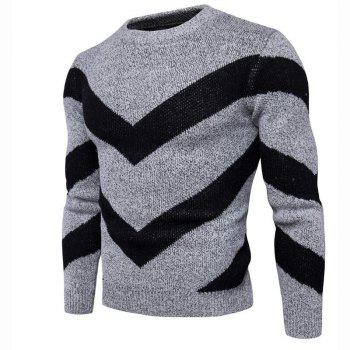 Men's Casual Daily Plus Size Simple Regular Pullover Color Block Round Neck Long Sleeves Cotton Polyester Sweater - GRAY XL