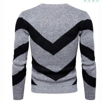 Men's Casual Daily Plus Size Simple Regular Pullover Color Block Round Neck Long Sleeves Cotton Polyester Sweater - GRAY 3XL