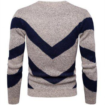 Men's Casual Daily Plus Size Simple Regular Pullover Color Block Round Neck Long Sleeves Cotton Polyester Sweater - KHAKI 2XL