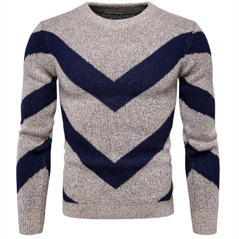 Men's Casual Daily Plus Size Simple Regular Pullover Color Block Round Neck Long Sleeves Cotton Polyester Sweater - KHAKI 3XL
