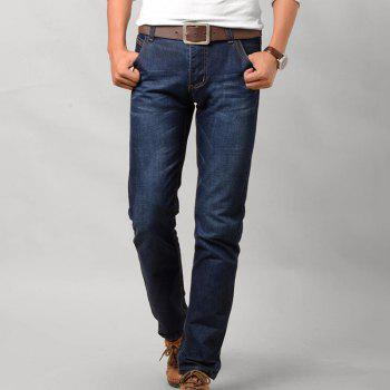 Men's Mid Rise Micro Elastic Simple Slim Solid Jeans Pants - BLUE 30