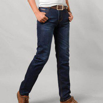 Men's Mid Rise Micro Elastic Simple Slim Solid Jeans Pants - BLUE 28