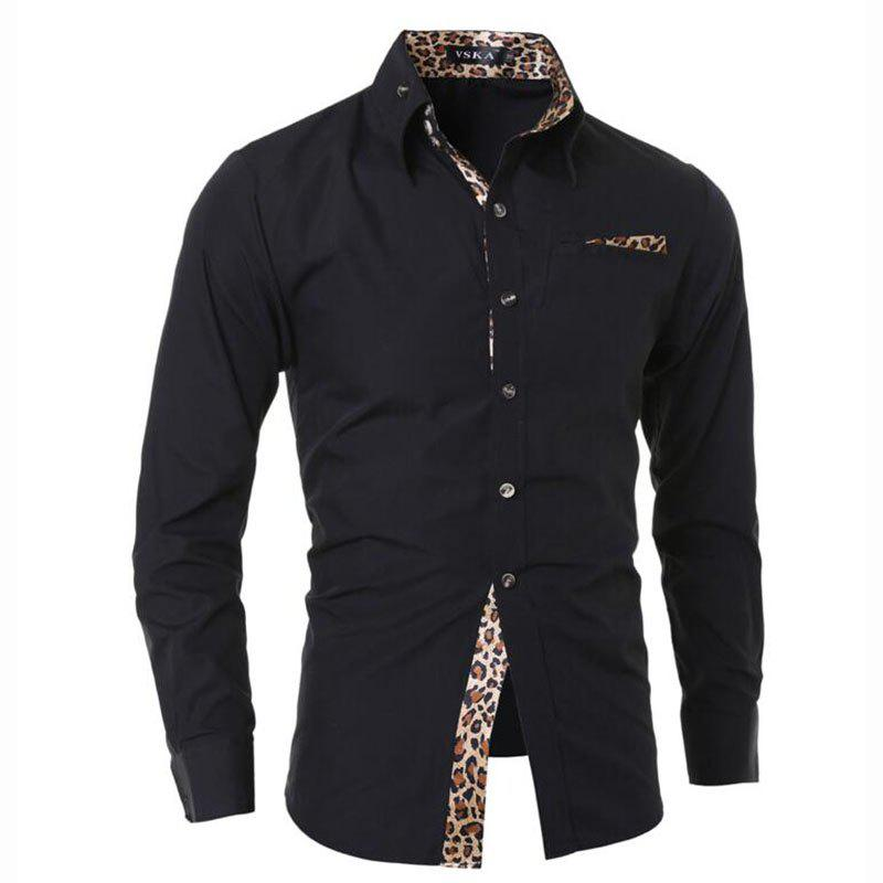 Men's Casual Daily Simple Spring Fall Shirt Floral Classic Collar Long Sleeves Cotton men s casual daily simple shirt check stand long sleeves cotton t shirt
