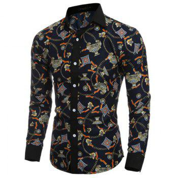 Men's Party Going out Club Vintage Active Chinoiserie All Seasons Shirt Floral Standing Collar Long Sleeves Polyester shirt - BLACK M